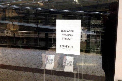 CMYK-butikken i Knarvik senter og de øvrige 40 butikkene i kjeden holder stengt inntil videre etter konkursen i bergensbedriften CK Retail AS.