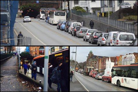 Det er fullstendig kaos i trafikken mandag. Trafikken står i stampe gjennom sentrum og Skyss melder at busstrafikken er fullstendig lammet.