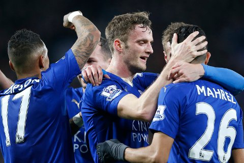 "Football Soccer - Leicester City v West Bromwich Albion - Barclays Premier League - King Power Stadium - 1/3/16 Andy King celebrates with Riyad Mahrez and team mates after scoring the second goal for Leicester City Action Images via Reuters / Carl Recine Livepic EDITORIAL USE ONLY. No use with unauthorized audio, video, data, fixture lists, club/league logos or ""live"" services. Online in-match use limited to 45 images, no video emulation. No use in betting, games or single club/league/player publications.  Please contact your account representative for further details."