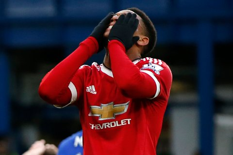 """Football Soccer - Chelsea v Manchester United - Barclays Premier League - Stamford Bridge - 7/2/16 Manchester United's Anthony Martial looks dejected Action Images via Reuters / John Sibley Livepic EDITORIAL USE ONLY. No use with unauthorized audio, video, data, fixture lists, club/league logos or """"live"""" services. Online in-match use limited to 45 images, no video emulation. No use in betting, games or single club/league/player publications.  Please contact your account representative for further details."""