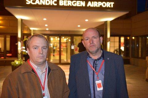 Visepresident Charles Miller for Halliburton Skandinavia (t.v.) og hovedtillitsvalgt for de ansatte, Knut Nesland.
