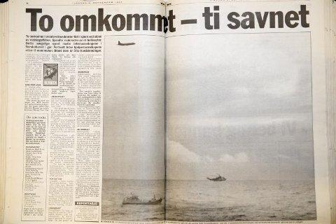 STYRTET: Et helikopter med tolv personer styrtet på vei ut til Nornefeltet 8. september 1997. FAKSIMILE: BA 9. september 1997.