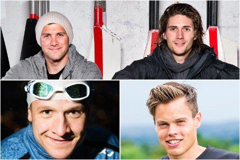 Disse bergenserne er klare for OL: Øverst: Roerne Kristoffer Brun og Nils Jakob Skulstad Hoff. Nederst fra venstre: Kristian Blummenfelt (Triathlon) og Håvard Haukenes (kappgang).