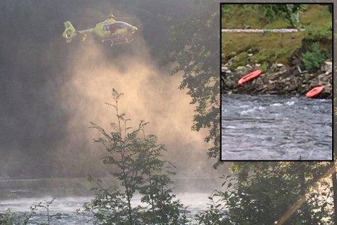 Det ble iverksatt en stor redningsaksjon etter at politiet fikk melding om en savnet person i Vosso. Gummibåtene kan sees på bildet som er innfelt. (Foto: Kai Svellingen Flatekvål)