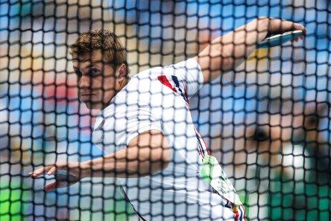 Sven Martin Skagestad i diskos kvalifisering  under OL- Rio de Janeiro fredag. Foto: Cornelius Poppe / NTB scanpix
