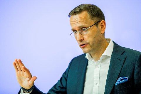 Snorre Storset, administrerende direktør i Nordea, presenterer resultatet for 2. kvartal 2017 i selskapets lokaler i Oslo torsdag formiddag. Foto: Vegard Wivestad Grøtt / NTB scanpix