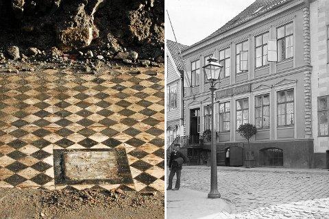 Gulvet som ble oppdaget under gravingen i Strandgaten hørte etter alt å dømme til gamle Hotel Bergen. Her er hotellet fotografert i 1883.