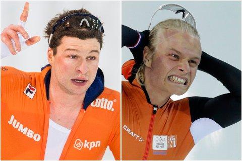 Nederlenderne Sven Kramer (t.v.) og Koen Verweij har levert solide tider i oppkjøringen til OL-sesongen. I helgen får de norske skøyteløperne prøve seg mot dem. (Arkivfoto: NTB scanpix)