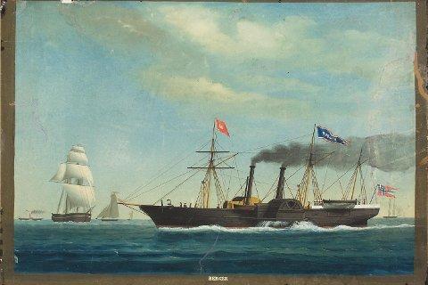 Natt til den 10. september 1855 kolliderte de to hjuldamperne «Norge» og «Bergen» rett utenfor Kristiansand. På bildet ser vi «Bergen» - Det Bergenske Dampskipsselskabs første storinvestering.