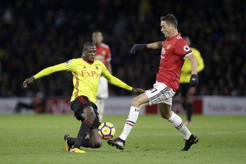 Nemenja Matic (t.h.) måtte av med skade i kampen mot Watford og Abdoulaye Doucoure tirsdag. Midtbanegiganten rekker neppe storkampen mot Arsenal lørdag.