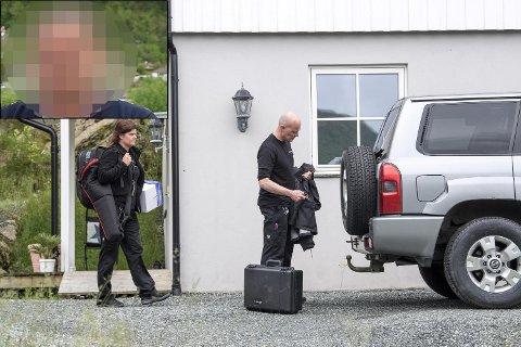 Her er politiets krimteknikere på jobb like etter arrestasjonen i juni. Den siktede 48-åringen (innfelt) nekter enhver befatning med dødsfallet.