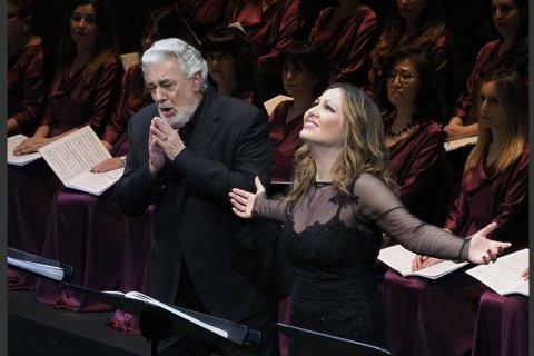 Nino Machaidze sammen med Placido Domingo i Barcelona tidligere denne måneden.