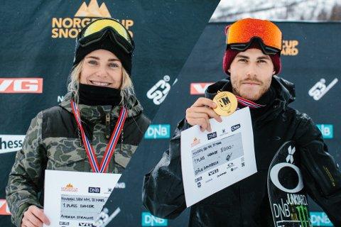 Andrea Straume fra Bergen vant NM i boardercross. Ståle Sandbech tok gullet for herrene.