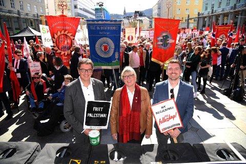 Fra venstre: Jorge Dahl i Rørleggersvennenes forening, Rigmor Heggdal i Handel og Kontor og Roger Moum, Vestnorsk Transportarbeiderforening.