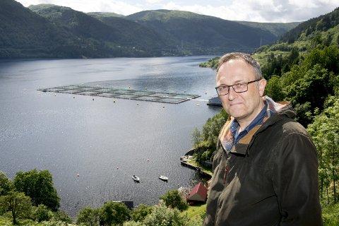 Få steder i Hordaland, ifølge ordfører Jarle Skeidsvoll, produseres det mer fisk per kvadratkilometer sjø enn i oppdrettsanleggene rundt Osterøy.                          Sørfjorden er en fjord med lite strøm, og får sjelden utskifting av nytt oksygenrikt vann fra havet.foto: