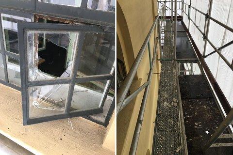 Opp stillaset til syvende etasje og gjennom denne knuste ruten kom en eller flere gjerningsmenn seg inn i tårnet på Historisk museum.