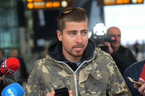 Peter Sagan ankom Flesland fredag ettermiddag.
