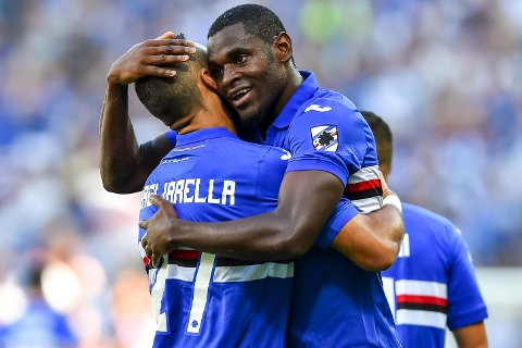 Sampdoria's Duvan Zapata, right, elebrates with his teammate Italian forward Fabio Quagliarella after scoring, during the Serie A soccer match between Sampdoria and Atalanta at the Luigi Ferraris Stadium in Genoa, Italy, 1Sunday, Oct. 15, 2017. (Simone Arveda/ANSA via AP)