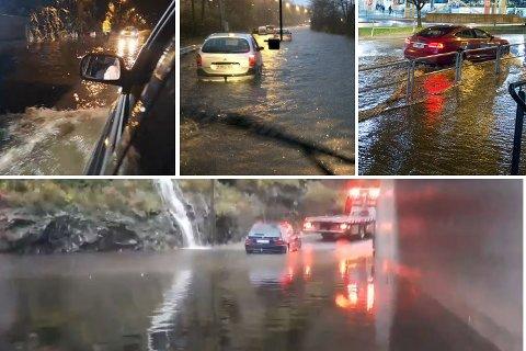 Bildet til venstre viser oversvømmelse i Straumeveien lørdag kveld. Bildet i midten er fra Fjøsangerveien og bildet til venstre er fra Vestre Strømkaien. Bildet nederst er fra en undergang under E16 på Gaupås lørdag.