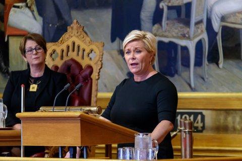 Finansminister Siv Jensen la fram neste års statsbudsjett i Stortinget mandag formiddag.
