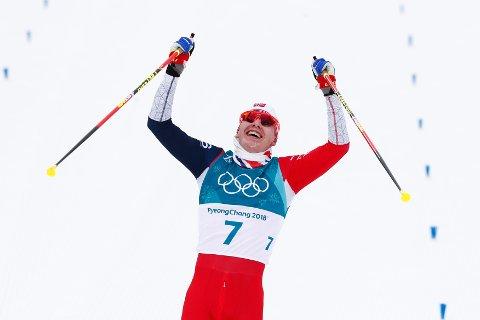 Simen Hegstad Krüger gikk inn til OL-gull i overlegen stil søndag. Foto: Terje Pedersen / NTB scanpix