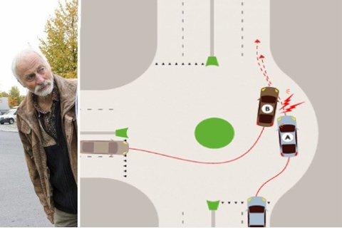 Bjørn Trosdahl har et stort engasjement for å få folk til å bruke blinklys i rundkjøring.
