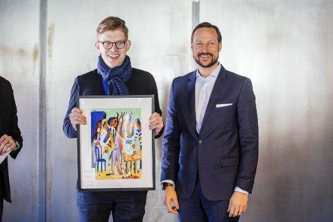 Kongelig: Andres Dahl fikk pris for å være en talentfull bransjeperson av selveste Kronprins Haakon.foto: Jonathan Vivaas Kise
