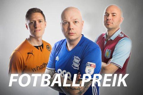 Fotballpreik slår seg som vanlig løs etter Brann-kamp: Einar Lundsør (t.v.), Kai Flatekvål og Jan Gunnar Kolstad.