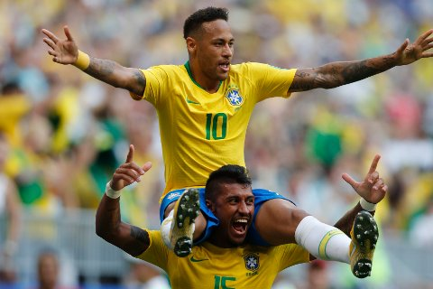 Neymar scoret Brasils første mål.