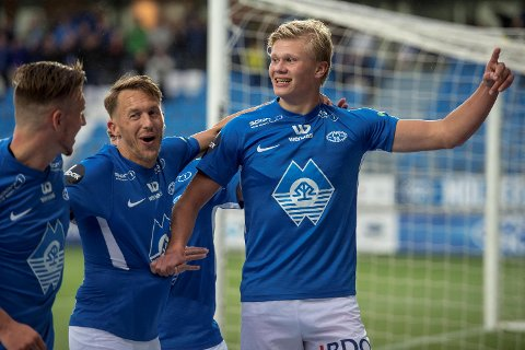 Erling Braut Håland herjet mot Brann, og igjen mot Vålerenga (bildet). Sannelig scoret ikke 18-åringen hjemme mot Laci også!