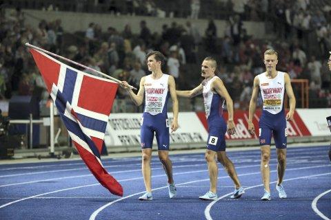 For noen gener: Brødrene Filip, Henrik og Jakob Ingebrigtsen har alle EM-gull på 1500 meter etter yngstemann Jakobs utrolig bragd i Berlin i går kveld. FOTO: NTB scanpix