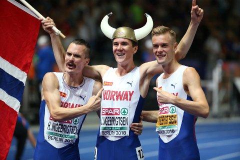 Henrik Ingebrigtsen,  Jakob Ingebrigtsen og Filip Ingebrigtsen skal alle løpe på Fana stadion onsdag kveld. (Foto: Ørn Borgen/NTB scanpix)