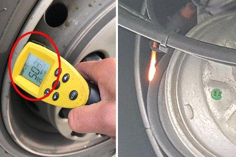Til venstre ser du at bremseskivene på foraksling blir målt til 503 grader. På det andre vogntoget begynte bremseskivene å brenne.