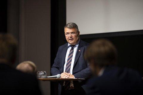 Den ferske olje- og energiministeren Kjell-Børge Freiberg (Frp) gjestet Bergen næringsråd mandag. FOTO: EMIL WEATHERHEAD BREISTEIN