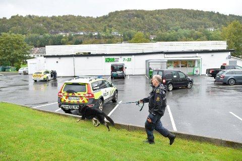 Politi leter med hunder i området.