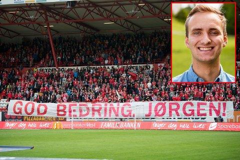 Brann-supporteren Jørgen ble skadet da han ble påkjørt av T-banen ved Nationaltheatret i Oslo før kampen mot Vålerenga for litt over en uke siden.