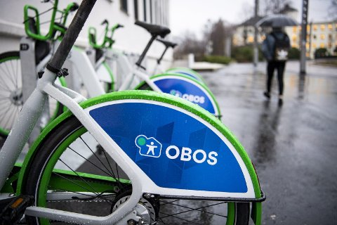 Slik ser Obos-logoen på de nye bysyklene ut, spørsmålet er om bakgrunnen er en del av logoen eller ikke.