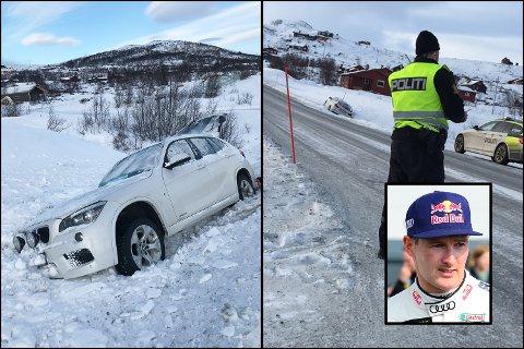 Rallycrossfører Andreas Bakkerud forhindret en front mot front-ulykke på Ustaoset da han kjørte bilen ut i grøften etter å ha feiret nyttår på Geilo.