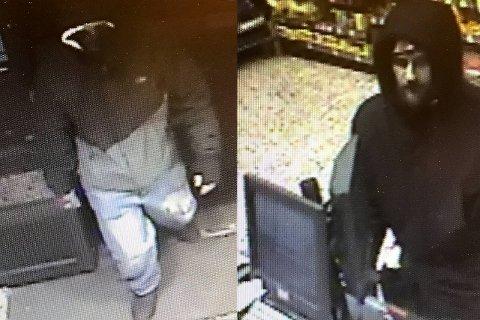 Politiet går ut med en etterlysning av disse to mennene etter ran av butikken Matkroken i Bergen sentrum 13. januar.