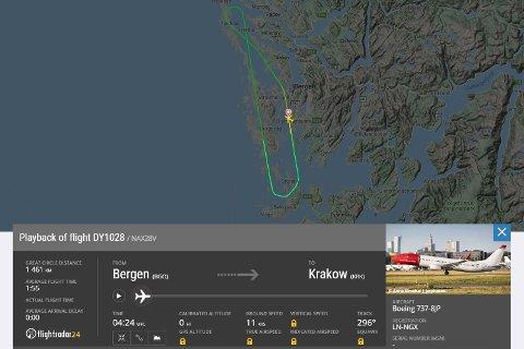Det ble en kort flytur i retning Krakow for dette Norwegian-flyet.