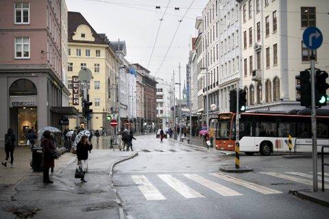 Dersom Christies gate blir stengt er Strandgaten antagelig den mest aktuelle hovedruten gjennom sentrum.