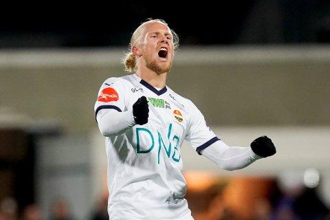 Lars Jørgen Salvesen scoret begge målene for Strømsgodset borte mot Haugesund sist søndag i kampen som endte 2-2. Foto: Fredrik Hagen (NTB scanpix)