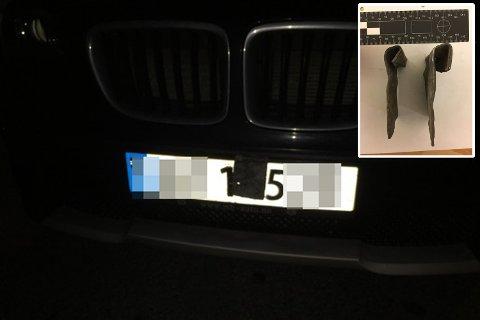 Da mannen ble stoppet av politiet dekket metallplatene (innfelt) deler av registreringsnummeret.
