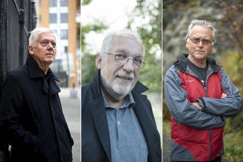 Lønnsomme krimhelter: Chris Tvedt, Jørgen Jæger og Gunnar Staalesen hadde alle sitt mest innbringende år i 2018, ifølge ligningstallene.