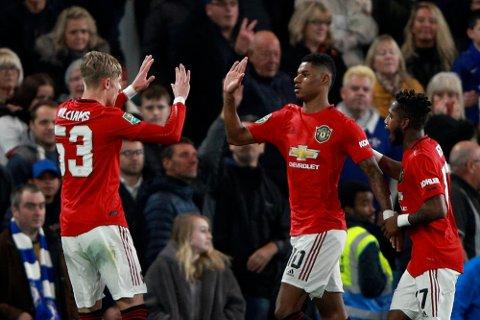 Manchester United har ikke imponert i gruppespillet i Europa League, til tross for at de er ubeseiret. Her jubler Marcus Rashford (midten) etter å ha scoret mot Chelsea i ligacupen.