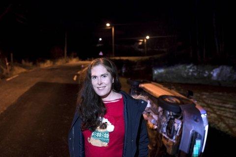 Helene Olsen fikk et ublidt møte med den såpeglatte veien.