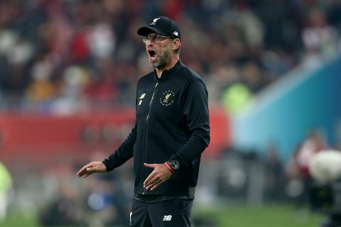 Liverpool's manager Jurgen Klopp reacts during the Club World Cup final soccer match between Liverpool and Flamengo at Khalifa International Stadium in Doha, Qatar, Saturday, Dec. 21, 2019. (AP Photo/Hussein Sayed)