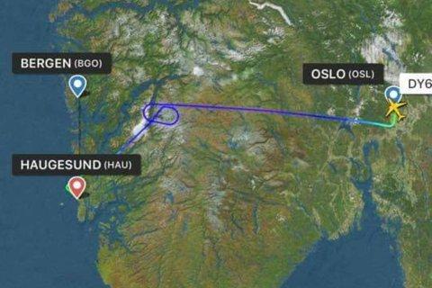 Slik ble reiseruten til Norwegian-flyet. Skjermdump: Flightradar24