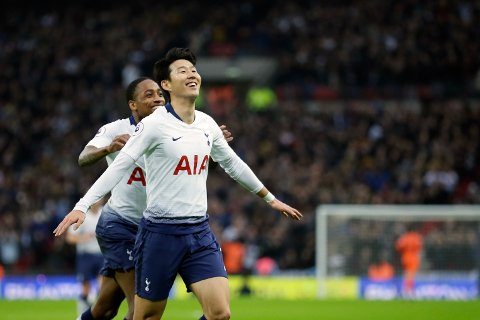 Heung-Min Son feirer scoringen sin mot Bournemouth. Vi tror han får mer å juble for i dag. (AP Photo/Tim Ireland)