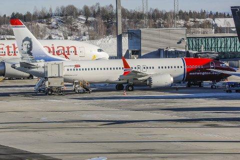 Et Boeing 737 MAX 8 fly fra Norwegian står ved gaten på Oslo lufthavn. Denne flytypen har fått flyforbud i store deler av verden etter en styrt i Etiopia søndag som kostet 157 mennesker livet.